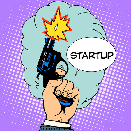 pop up: business concept startup starting pistol retro style pop art