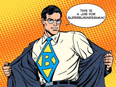 hero: job super businessman hero retro pop art style