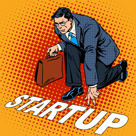 manager cartoon: Business concept start-up businessman. Venture Fund or a startup company. Retro style pop art Illustration
