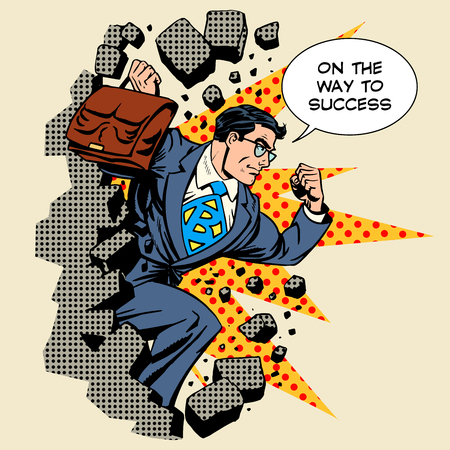 Business breakthrough success businessman hero breaks through the wall retro style pop art Vectores