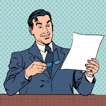 informe: Un hombre lee el documento, el informe de un hombre de negocios o un científico. Presentación de conferencias Conferencia. Arte pop del estilo retro