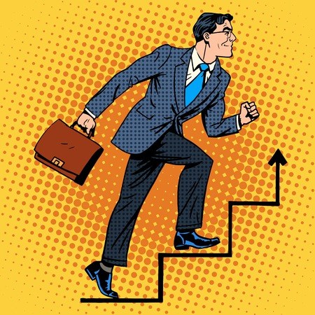 art vintage: Businessman climbs up the career ladder retro style pop art