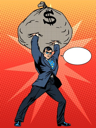 Gigantic profits of financial success. Super businessman hero with a bag of money. The business concept. Pop art retro style Ilustracja