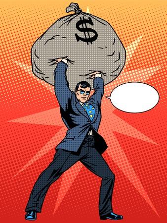 Gigantic profits of financial success. Super businessman hero with a bag of money. The business concept. Pop art retro style Vettoriali