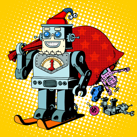 book bag: Robot Santa Claus Christmas gifts humor character Robosanta retro pop art style Illustration