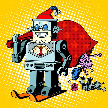 robot: Robot znaków Święty Mikołaj Boże Narodzenie prezenty humor Robosanta retro w stylu pop-art Ilustracja