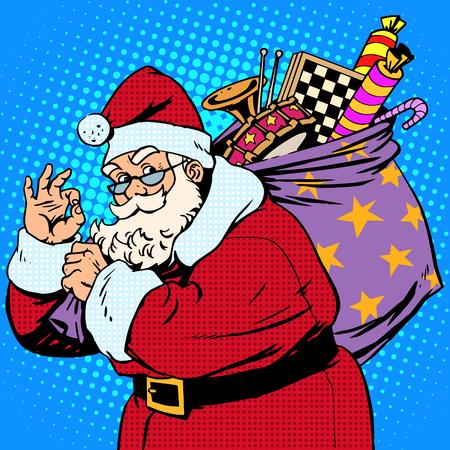 cartoon santa: Santa Claus with gift bag okay gesture retro style pop art Illustration