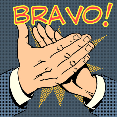 retro cartoon: hands palm applause success text Bravo retro style pop art Illustration