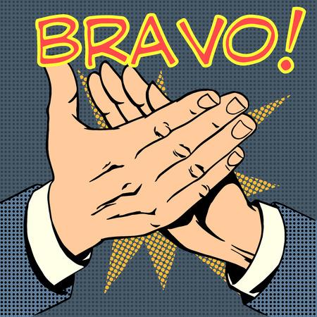 hands palm applause success text Bravo retro style pop art Illustration