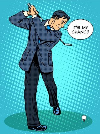 deportes caricatura: Concepto de negocio esta es mi oportunidad de negocios que juegan a golf del arte pop de estilo retro Vectores