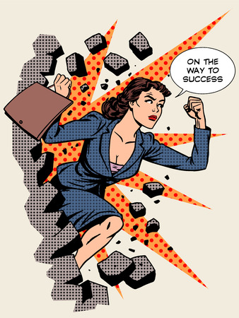 success business: Business success businesswoman breaks the wall. Retro style pop art Illustration