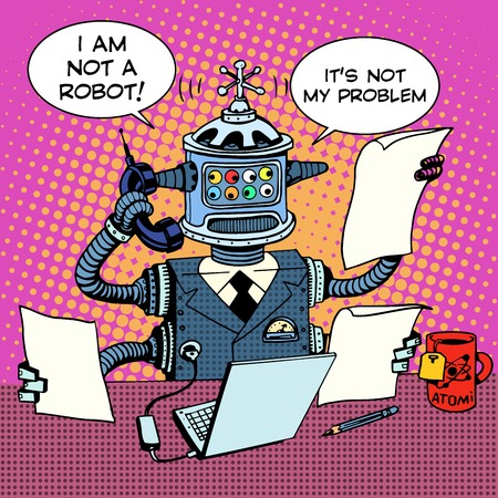 Robot Sekretarz na koncepcji biznesowej telefonu. Styl retro pop-artu