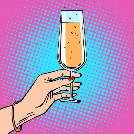 comic art: Toast a female hand with glass of champagne celebration party. Theme birthday or New year. Retro style pop art
