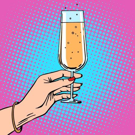 Tostar una mano femenina con un vaso de champagne fiesta. Cumpleaños del tema o de Año Nuevo. Arte pop del estilo retro