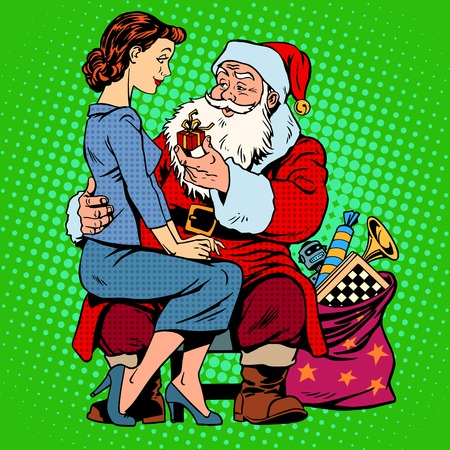 Christmas gift. Santa Claus and a beautiful girl. Retro style pop art