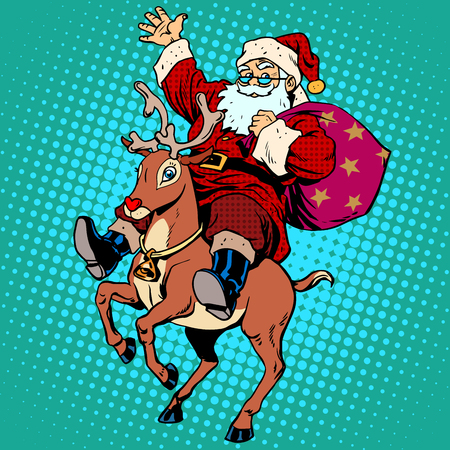 reindeers: Santa Claus with gifts Christmas reindeer Rudolf. Retro style pop art