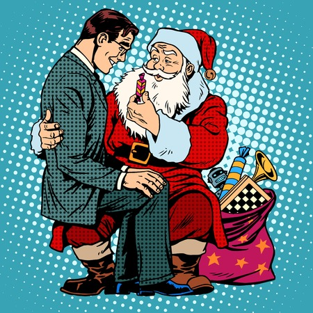 bag cartoon: Christmas gift. Santa Claus and businessman. Retro style pop art