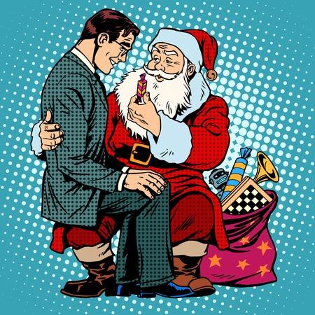 Christmas gift. Santa Claus and businessman. Retro style pop art