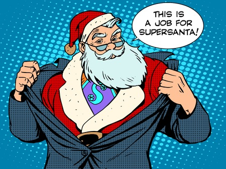 Kerstman super held retro-stijl pop art