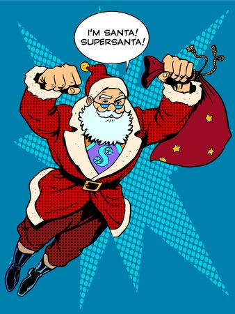 Santa Claus is flying with gifts like a superhero. Retro style pop art