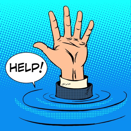 Hand sinking asks for help. Business concept retro style pop art