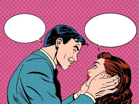Diálogo amor Pares. Hombre y mujer hablando. Comunicación, las emociones, la psicología de la familia. Arte pop retro