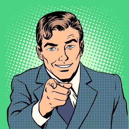 男は指のレトロなスタイルのポップアートを指しています。私たちはあなたを待ってください。