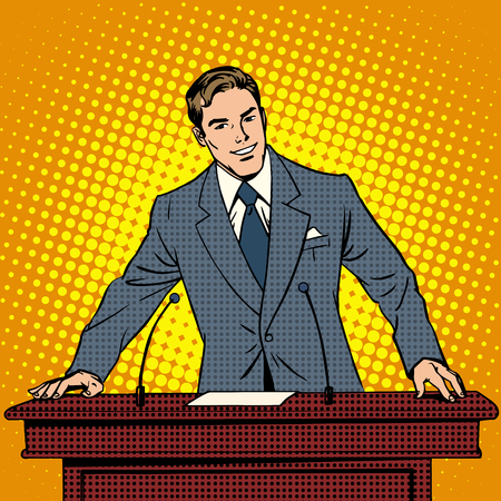 Speaker at the podium. The lecture presentation. Science and education, business school. Retro style pop art Illustration