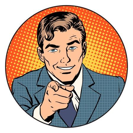 Man wijzende vinger in de cirkel retro-stijl pop art. We staan voor u klaar