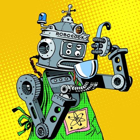 로봇 요리사가 음식을 맛본다. 부엌과 요리. 복고풍 팝 아트