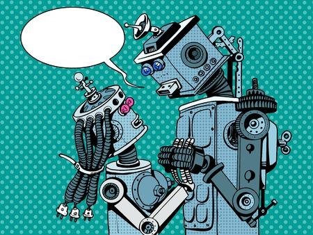 dialogo: robots pareja hombre mujer se aman el arte pop estilo retro