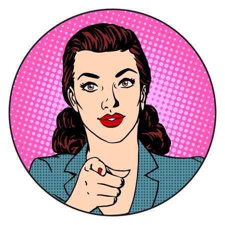 Businesswoman wants in the circle business concept. Retro style pop art
