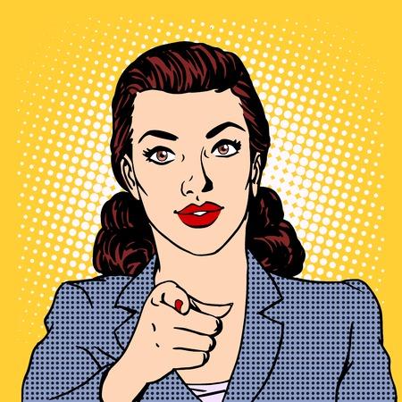 Zakenvrouw wil de business concept. Retro-stijl pop art