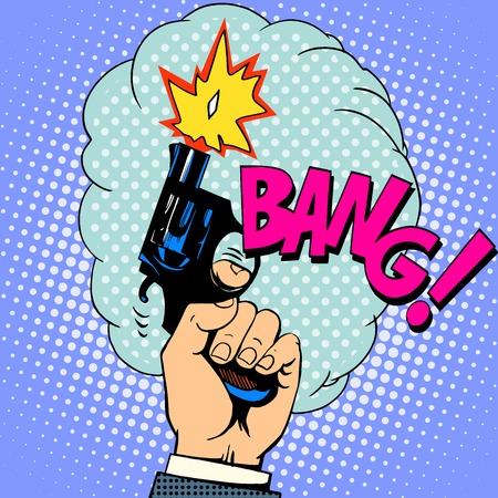 Disparo arma explosión del arte pop de estilo retro Foto de archivo - 45686162