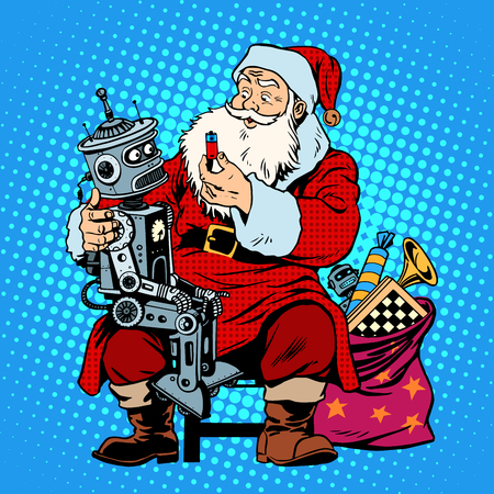robot cartoon: Santa Claus gift robot battery. Christmas shopping. Retro style pop art
