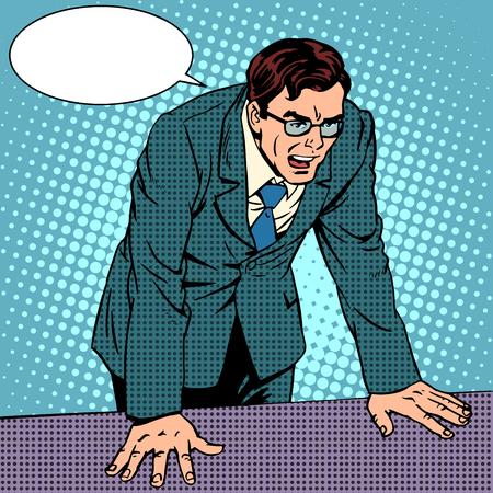 怒りのビジネスマン。ビジネス コンセプト否定的な感情。ポップなアート レトロ スタイル