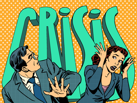 Biznesmen i businesswoman w panikę kryzysu finansowego pop-artu stylu retro
