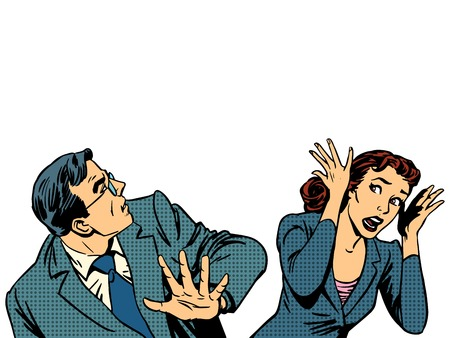 comic art: Man and woman escape the panic fear retro style pop art Illustration