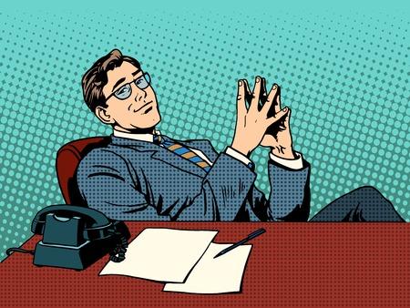 hombre de negocios: Irónico jefe empresario. Profesional en el trabajo de estilo retro pop art Concepto de negocio