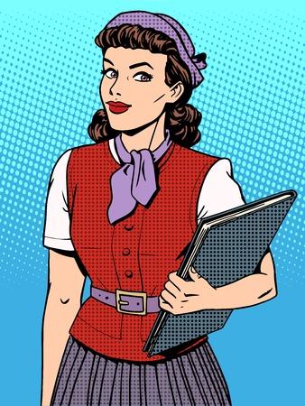 coiffer: Businesswoman hôtesse pop art style rétro vendeur consultant