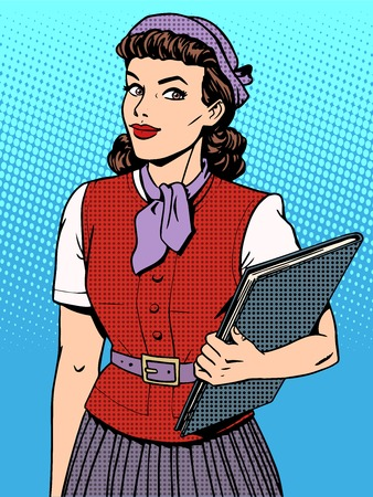 contemporary style: Businesswoman seller consultant hostess pop art retro style