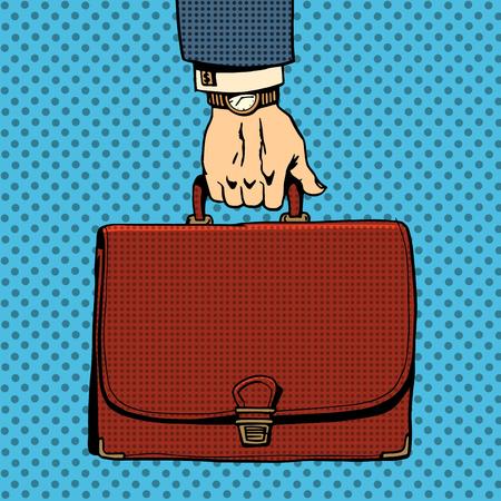 vintage art: Business briefcase suitcase retro pop art style