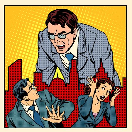 보스 분노 작업 사무실 비즈니스 개념 복고 스타일의 팝 아트 일러스트