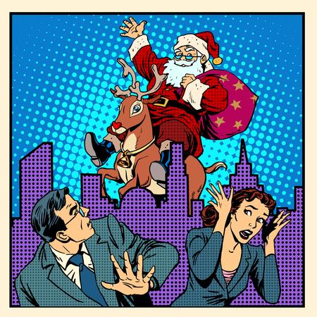 christmas concept: Nightmare holidays Santa Claus on reindeer and panic people retro style pop art