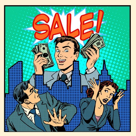 business people meeting: Panic giant overstock business concept pop art retro style