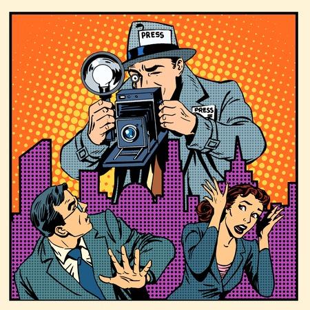famosos: paparazzis medios de comunicación aterrorizar a la gente. Un hombre y una mujer en estado de pánico huyendo del gigante de un periodista con un estilo retro del arte pop de cámara
