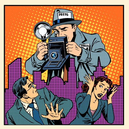 Media paparazzi terrorizing people. A man and a woman fleeing in panic from the giant of a journalist with a camera pop art retro style Illustration