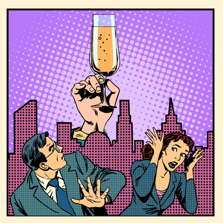 sobriety: Anonymous alcoholics struggle with alcohol retro style pop art Illustration