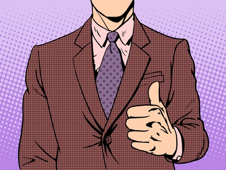 pop up: Gesture of good quality thumb up retro style pop art business concept Illustration