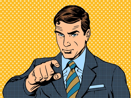 you: businessman pointing finger chose you retro style pop art